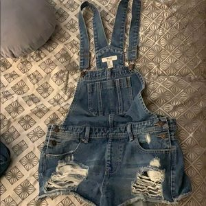 Forever 21 jean shorts overalls